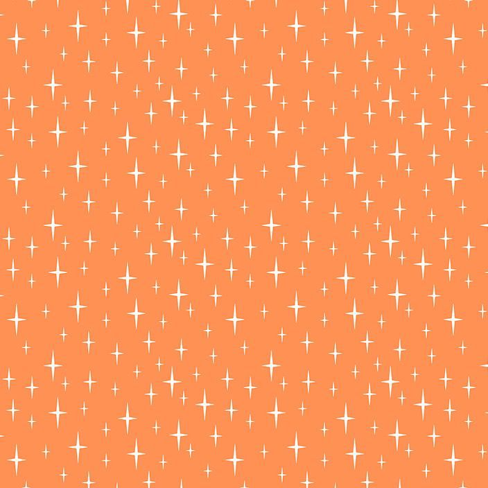 Figo Butterscotch Starlight Orange Stars Geometric Cotton Fabric