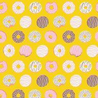 Figo American Road Trip Donuts Yellow Sprinkle Donut Cotton Fabric