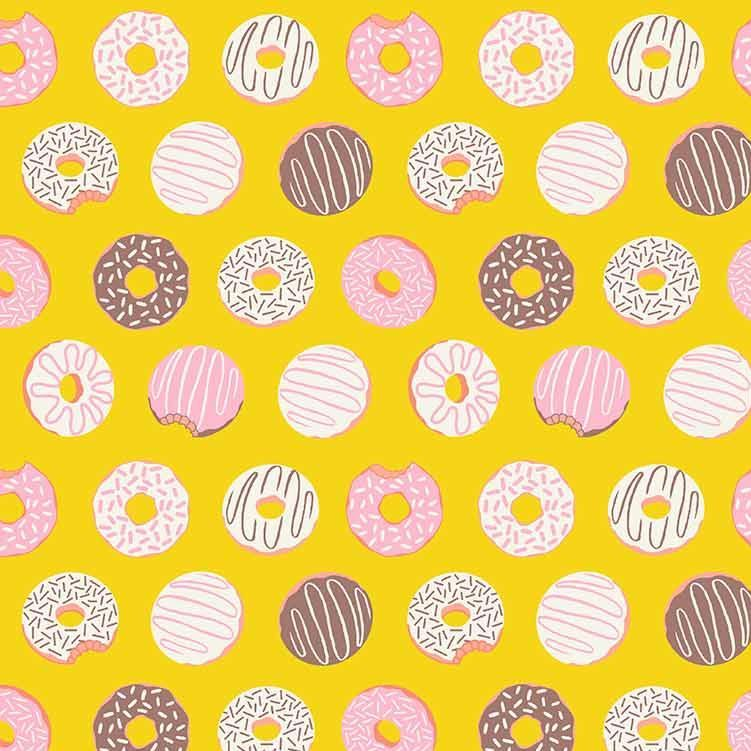 Figo American Road Trip Donuts Yellow Sprinkle Donut Cotton Fabric