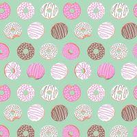 Figo American Road Trip Donuts Aqua Sprinkle Donut Cotton Fabric