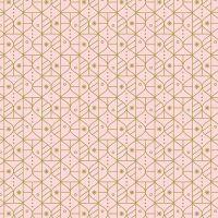 Figo Polar Magic Christmas Ornaments Geometric Pink Festive Metallic Gold Cotton Fabric
