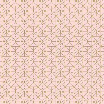 Figo Polar Magic Christmas Ornaments Geometric Pink Festive Metallic Gold Cotton Fabric
