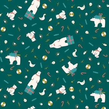 Figo Polar Magic Christmas Polar Bear Presents Teal Festive Tree Metallic Gold Cotton Fabric