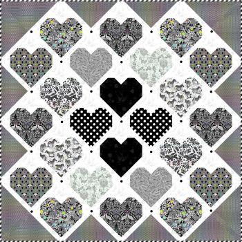 LINEWORK Tula Pink Retro Hearts Quilt Kit with Fabric Only - Pattern Available online from FreeSpirit Fabrics