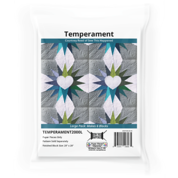 Temperament by Courtney Reed Quilt Pattern & EPP English Paper Piecing Paper Piece Large Pack (Makes 6 Blocks)