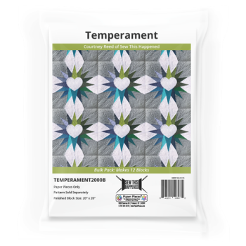 Temperament by Courtney Reed Quilt Pattern & EPP English Paper Piecing Paper Piece Bulk Pack (Makes 12 Blocks)