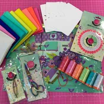 EXCLUSIVE Tula Troops Tula Pink Large Project Pack Bundle - Pouch, Scissors, Snips, Mini Bolts, Solids, Pins, Ruler & Thread