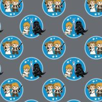 Star Wars Duos DELUXE Kawaii Characters Badges Luke Skywalker Darth Vader Han Solo Princess Leia Cotton Fabric