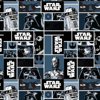 Star Wars Immortals Characters Blocks Monochrome Darth Vader Jedi R2-D2 C-3P0 Yoda Cotton Fabric
