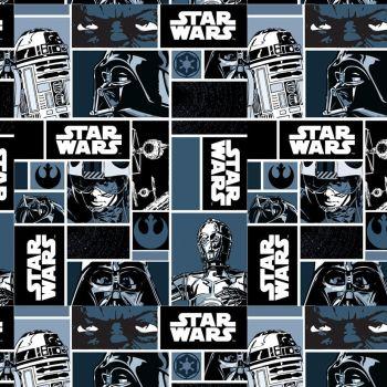 Star Wars Immortals Characters Blocks Monochrome Darth Vader Jedi R2-D2 C-3P0 Yoda Cotton Fabric