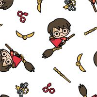 Harry Potter Kawaii Quidditch White Broomstick Golden Snitch Hogwarts Magical Wizard Witch Cotton Fabric