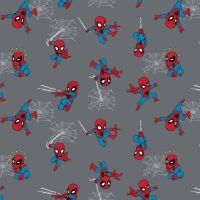 Spider-Man Kawaii Grey Marvel Spiderman Comic Books Superhero Cotton Fabric