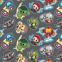 Marvel Avengers Superhero Kawaii Superheroes DELUXE Grey Character Cotton Fabric