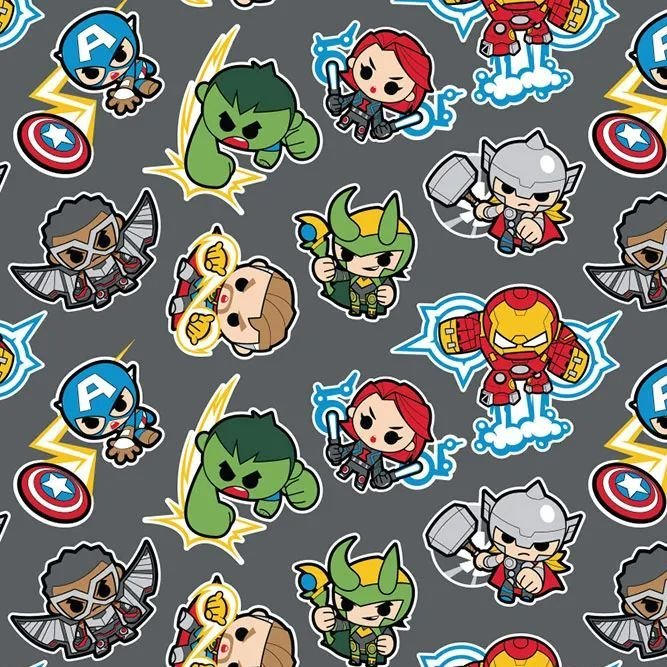 Marvel Avengers Superhero Kawaii Superheroes DELUXE Grey Character Cotton F