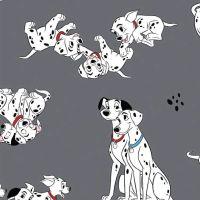 Disney 101 Dalmatians Family Portrait Pongo, Perdy and Puppies Grey Dalmatian Dog Cotton Fabric