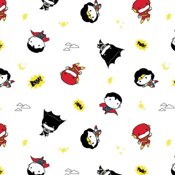 DC Superheroes In the Making Tiny Heroes White Kawaii Justice League Superhero Cotton Fabric
