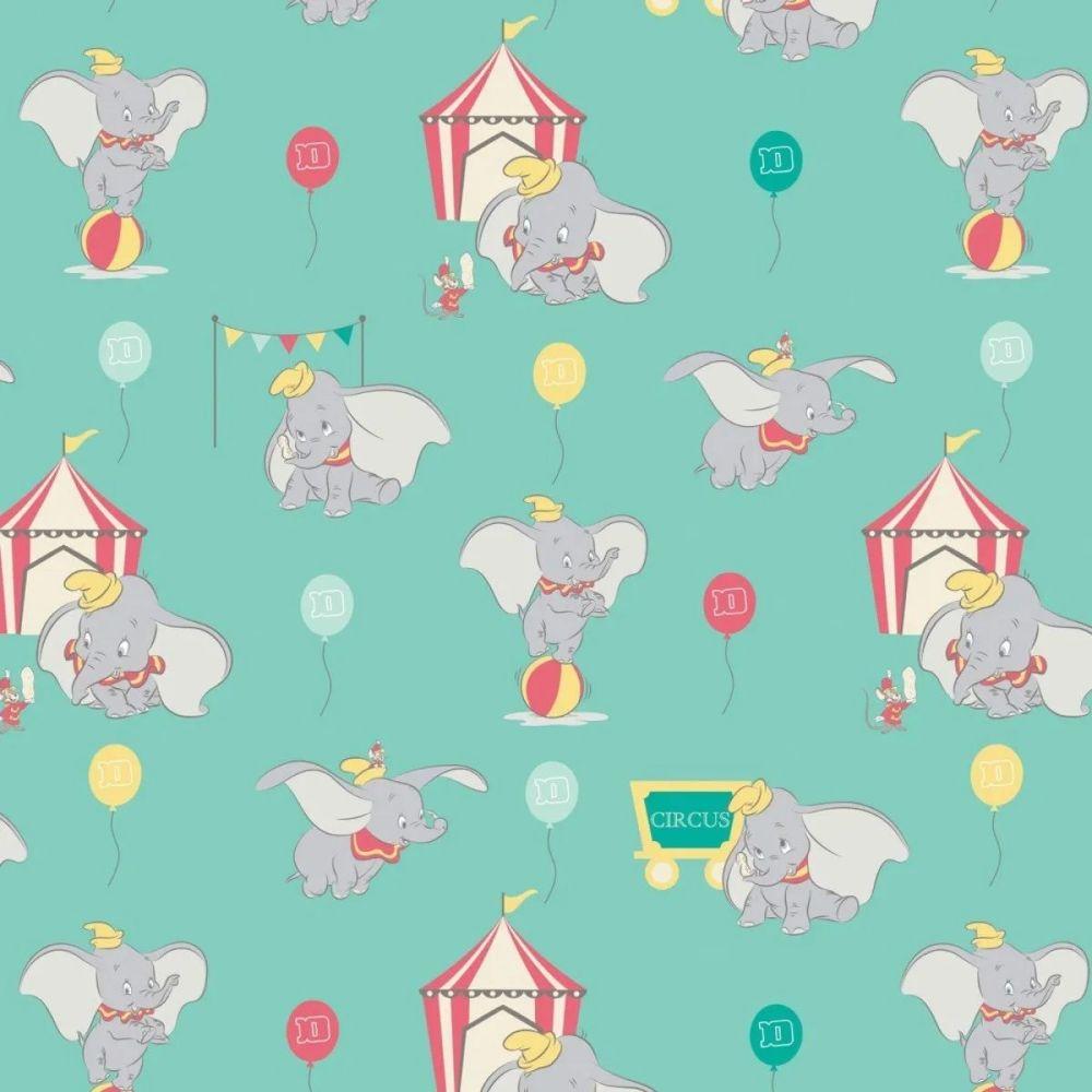 Disney Classics Dumbo In The Circus Tent Elephant Turquoise Aqua Fun Baby E