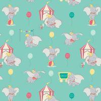 Disney Classics Dumbo In The Circus Tent Elephant Turquoise Aqua Fun Baby Elephant Nursery DELUXE Cotton Fabric