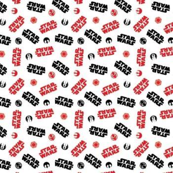 Disney Star Wars Logo Toss White Rebel Alliance Empire Cotton Fabric