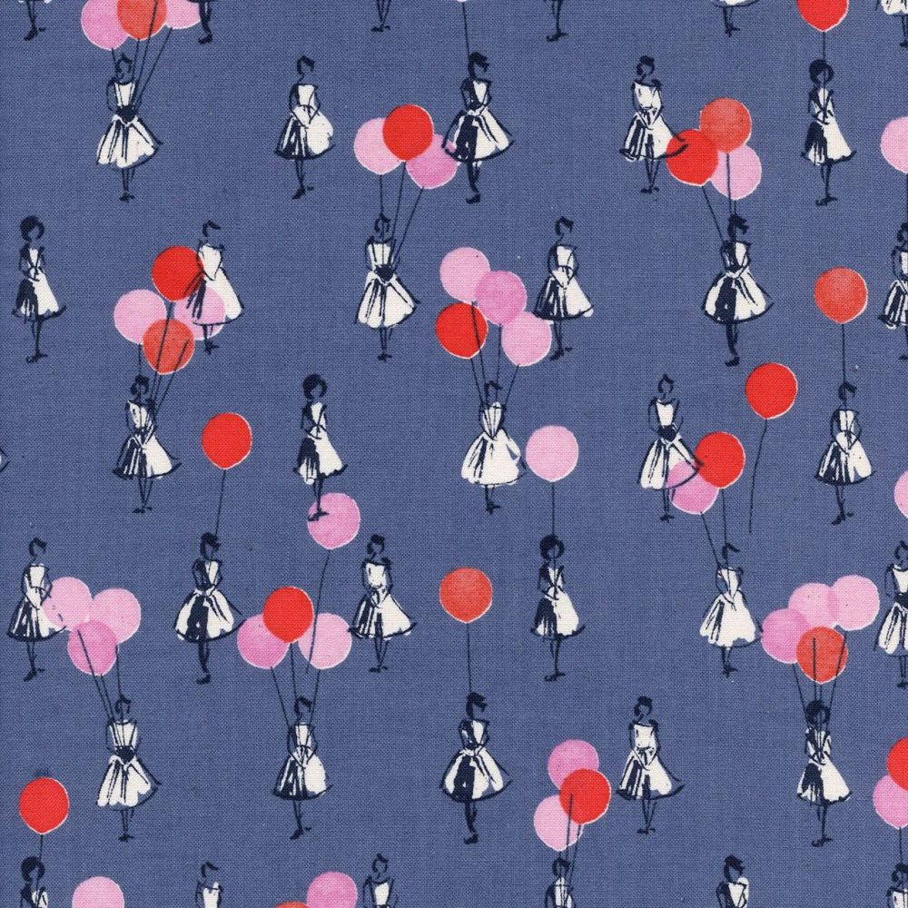 Jubilee Balloons Blue Denim Cotton Fabric by Melody Miller for Cotton + Ste