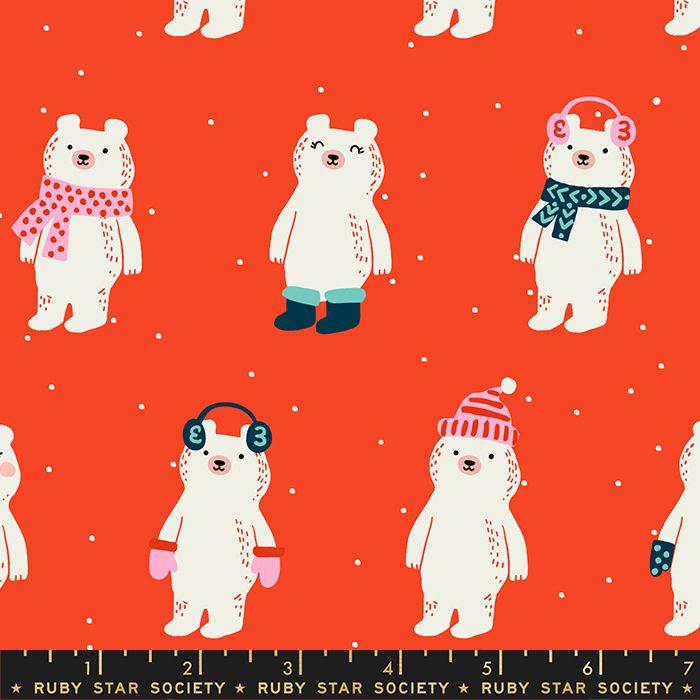Flurry Snow Bears Ruby Christmas Bear Festive Ruby Star Society Cotton Fabr