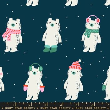 Flurry Snow Bears Peacock Christmas Bear Festive Ruby Star Society Cotton Fabric