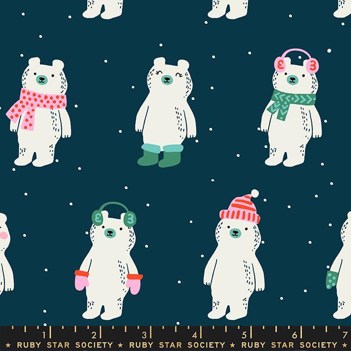 Flurry Snow Bears Peacock Christmas Bear Festive Ruby Star Society Cotton F