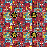 Spider-Man Marvel Spiderman Comic Book Boxes Red Superhero Cotton Fabric