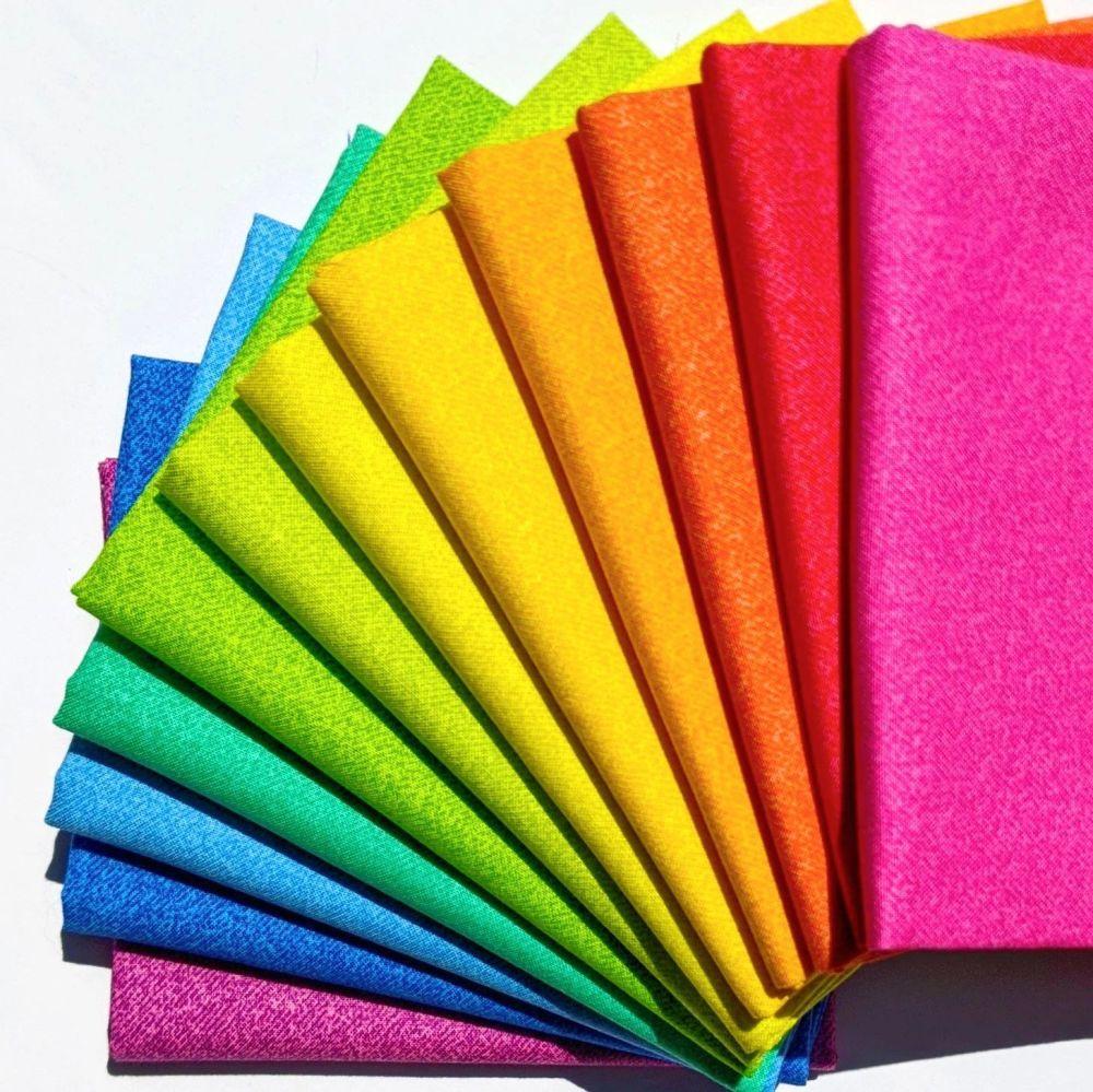 Libs Elliott Phosphor Rainbow 12 Fat Quarter Bundle Cotton Fabric Cloth Sta