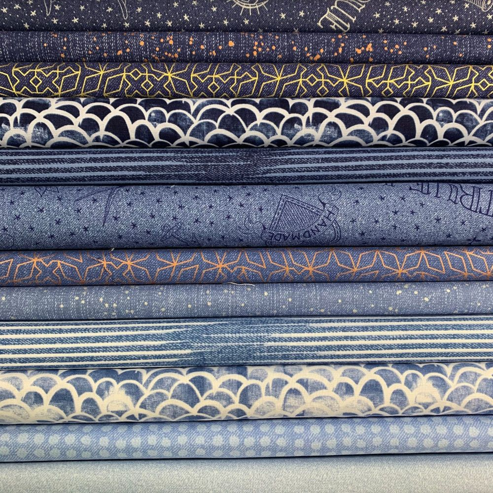 Limited Edition Libs Elliott Almost Blue 12 Fat Quarter Bundle Cotton Fabri