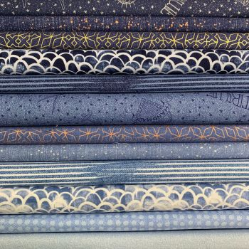 Limited Edition Libs Elliott Almost Blue 12 Fat Quarter Bundle Cotton Fabric Cloth Stack