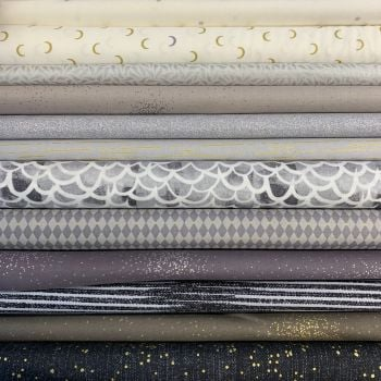 Limited Edition Libs Elliott Neutral Monochrome 12 Fat Quarter Bundle Cotton Fabric Cloth Stack