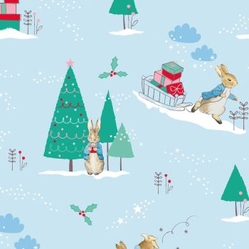 Peter Rabbit Christmas Delivering Presents Sled Winter Festive Gifts Blue Cotton Fabric