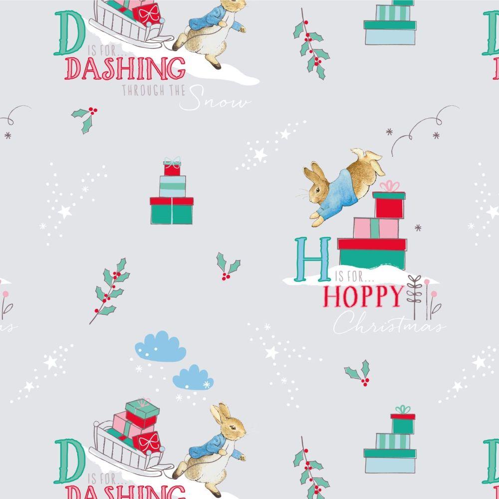 Peter Rabbit Christmas Letters Alphabet Text Winter Festive Gifts Grey Cott