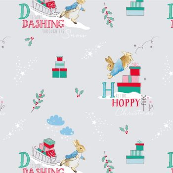 Peter Rabbit Christmas Letters Alphabet Text Winter Festive Gifts Grey Cotton Fabric
