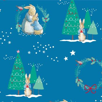 Peter Rabbit Christmas Hugs Winter Christmas Trees Wreath Festive Gifts Mid Blue Cotton Fabric