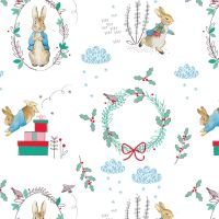 Peter Rabbit Christmas Wreath Winter Christmas Trees Wreath Festive Gifts White Cotton Fabric