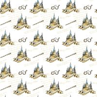 Harry Potter Hogwarts School for Witchcraft and Wizardry Castle Elder Wand Glasses White Soft Wash Magical Wizard Witch Cotton Fabric