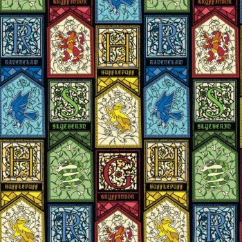 Harry Potter Hogwarts Houses Crest Stained Glass Gryffindor Hufflepuff Ravenclaw Slytherin Magical Wizard Witch Cotton Fabric