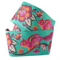 RARE Tula Pink Chipper Chipmunk Turquoise Ribbon by Renaissance Ribbons per yard