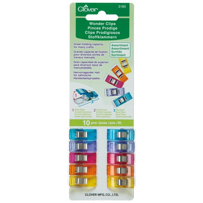 Clover Wonder Clips Assorted Colours 10 Pack for Sewing Quilting and Bindin