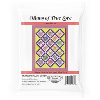Mums of True Love Chrysanthemum Heart Quilt Pattern & Complete EPP English Paper Piecing Paper Piece Pack