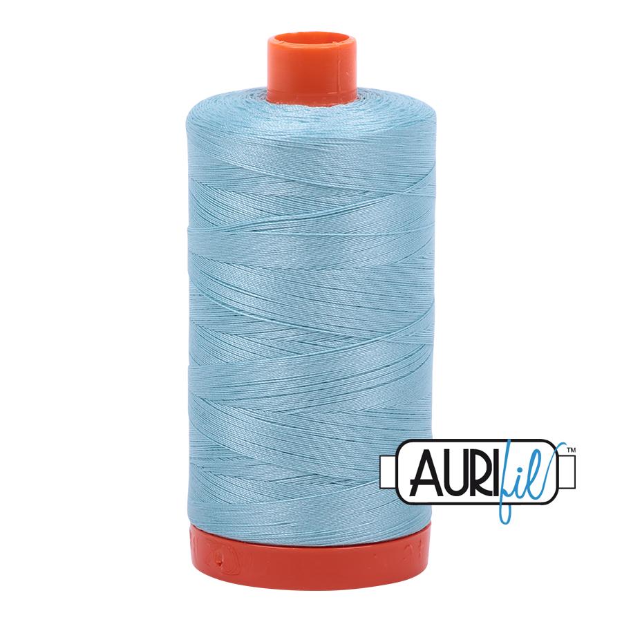 Aurifil 50wt Cotton Thread Large Spool 1300m 2805 Light Grey Turquoise