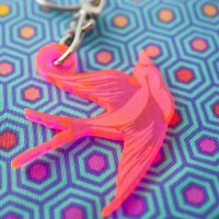 Tula Pink Fairy Dust Swallow Bird Acrylic Charm Fob