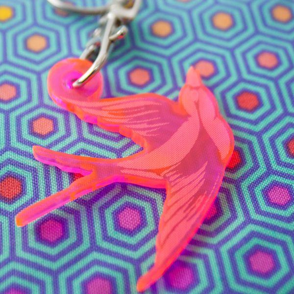 Tula Pink Bird Acrylic Charm Fob