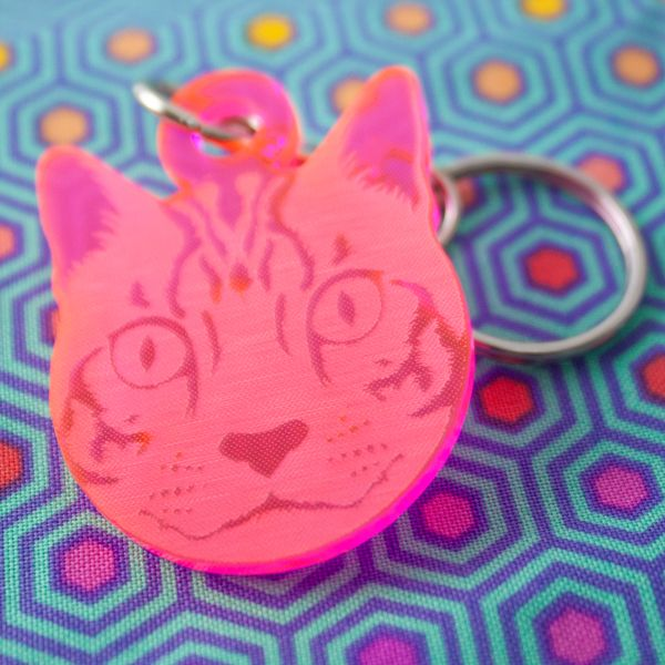 Tula Pink Curiouser and Curiouser Cheshire Cat Acrylic Charm Fob