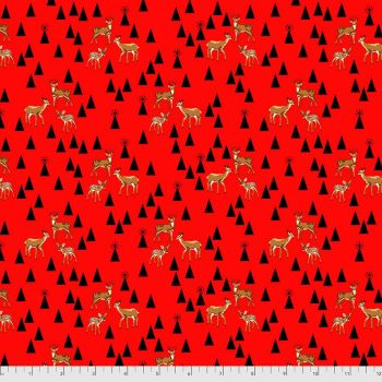 Tula Pink Holiday Homies Road Trip Holly Berry Brushed Cotton Flannel Fabric