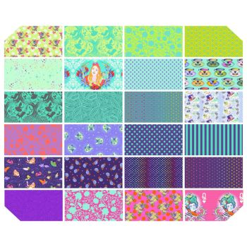 PRE-ORDER Tula Pink Curiouser and Curiouser Daydream 24 Fat Quarter Bundle Cotton Fabric Cloth Stack