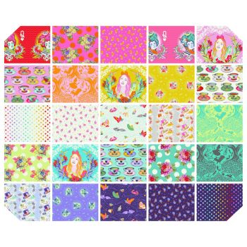 PRE-ORDER Tula Pink Curiouser and Curiouser Full Collection Fat Quarter Bundle Cotton Fabric Cloth Stack