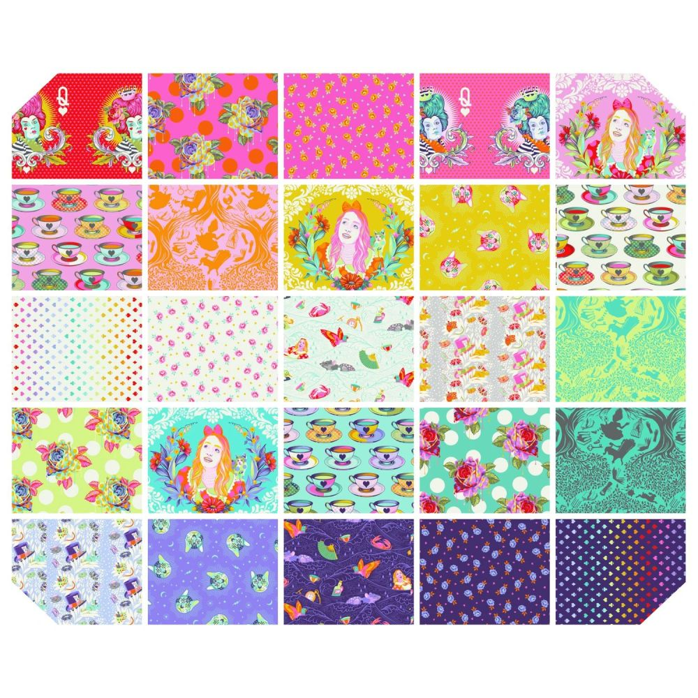 PRE-ORDER Tula Pink Curiouser and Curiouser Full Collection 1 Yard Bundle C